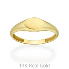 14K Yellow Gold Ring - Matte Oval Seal