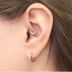 14K Yellow Gold Women's Hoop Earrings - Diamond Engraving Hoop S