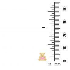 14K Yellow Gold Kid's Stud Earrings - Colorful Teddy