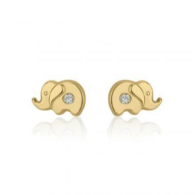 Gold Stud Earrings -  Sparkling Elephant