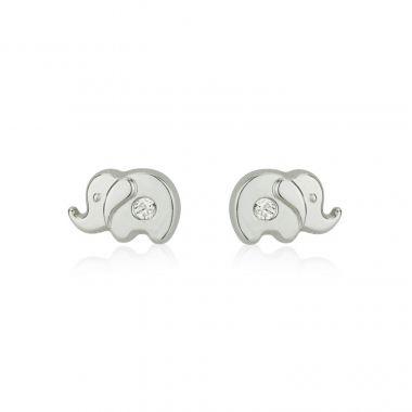 White Gold Stud Earrings -  Sparkling Elephant