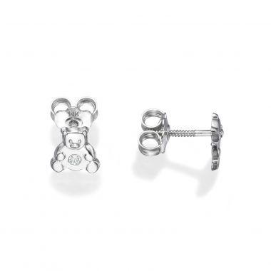 White Gold Stud Earrings -  Sparkling Teddy