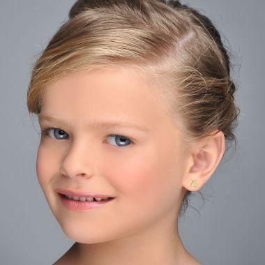 Gold Stud Earrings -  Sparkling Teddy