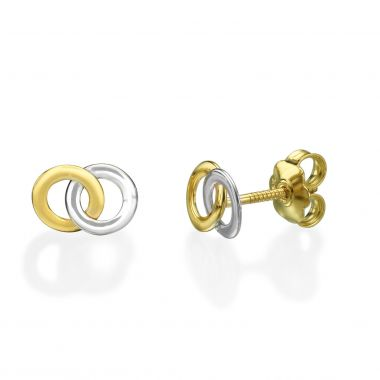 Gold Stud Earrings -  Intertwining Circles