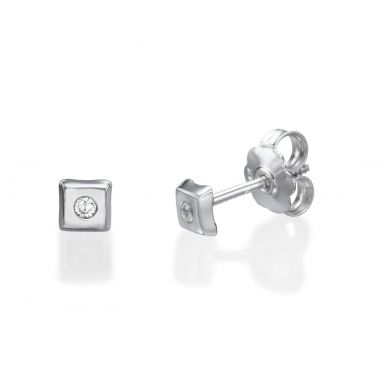 White Gold Stud Earrings -  Sparkling Square Small