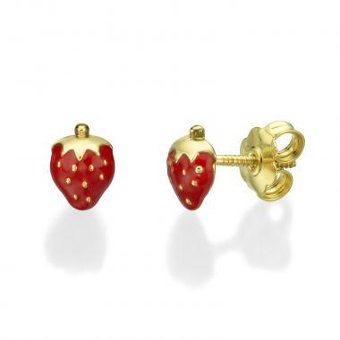 Gold Stud Earrings -  Sweet Strawberry