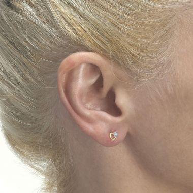 Gold Stud Earrings -  Daisy Heart - Blue