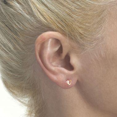 Gold Stud Earrings -  Daisy Heart - Pink