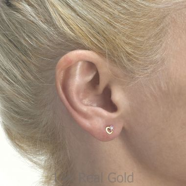 Gold Stud Earrings -  Daisy Heart - Lilac