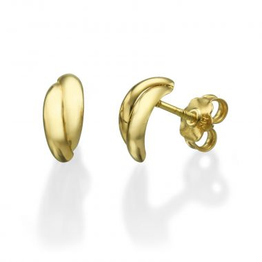 Gold Stud Earrings -  Smooth Crescents