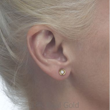 Gold Stud Earrings -  Crystal Circle