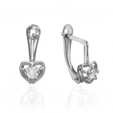 Drop White Gold Earrings - Huge Heart