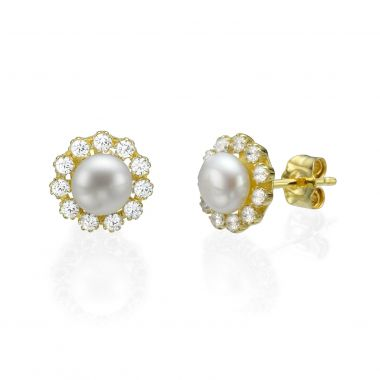 Gold Stud Earrings - Daffodil