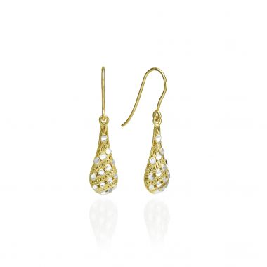 Gold Drop Earrings - Filigree Drops