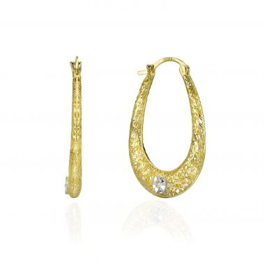 Gold Hoop Earrings - Hoop & Flower