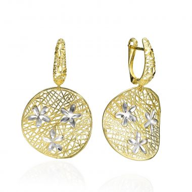 Gold Drop Earrings - Trio of Blooms