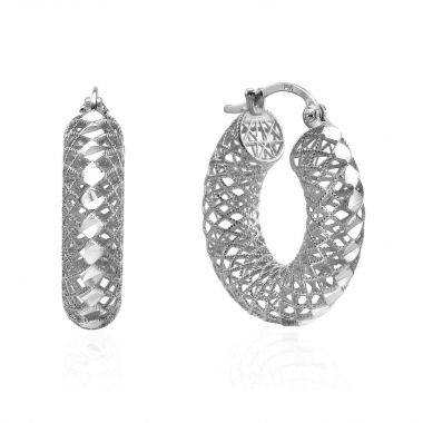 White Gold Hoop Earrings - Hoops of Splendor - Big