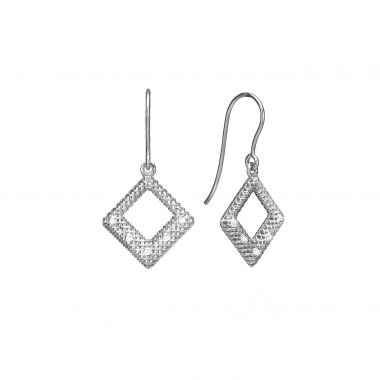 Gold Drop Earrings - Diamond Filigree