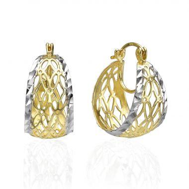 Gold Hoop Earrings - Golden Filigree