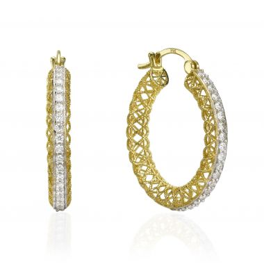 Gold Hoop Earrings - Bejeweled Hoops