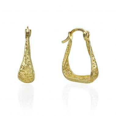 Gold Hoop Earrings - Twisting Hoops