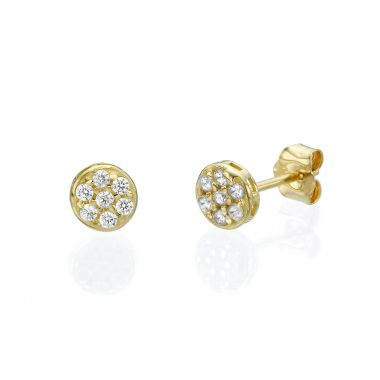 Gold Stud Earrings - Circle of Carmen