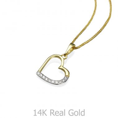 Gold Pendant - Glittering Heart