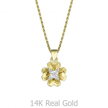 Pendant and Necklace in Yellow Gold - Rosebud