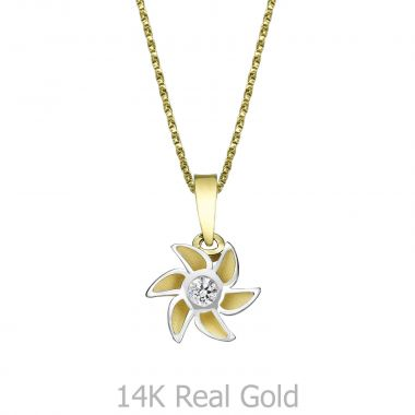 Pendant and Necklace in Yellow and White Gold - Bloom of Love