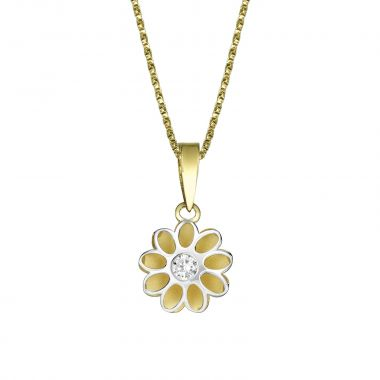 Pendant and Necklace in Yellow and White Gold - Sunshine Flower