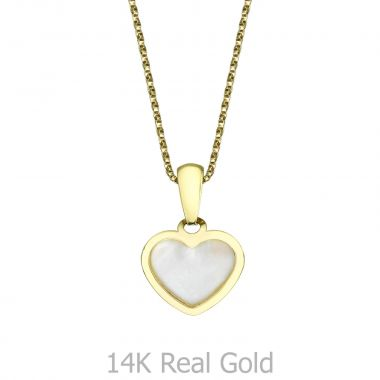 Pendant and Necklace in Yellow Gold -  Golden Pearl Heart