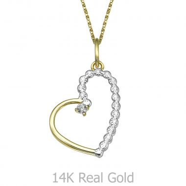 Pendant and Necklace in Yellow and White Gold - Sparkling Heart