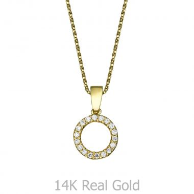 Pendant and Necklace in Yellow Gold - Circles of Joy