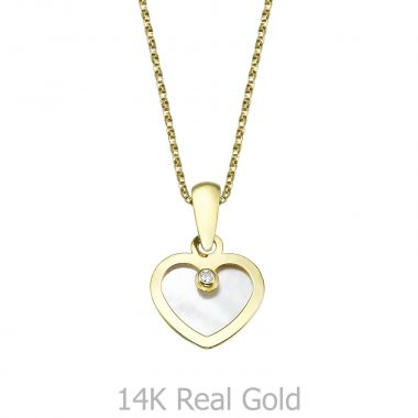 Pendant and Necklace in Yellow Gold -  Enraptured Heart