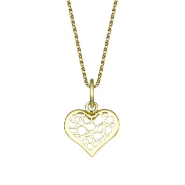 Pendant and Necklace in Yellow Gold - Abstract Heart