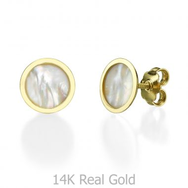 Stud Earring in Yellow Gold - Round Mother of Pearl