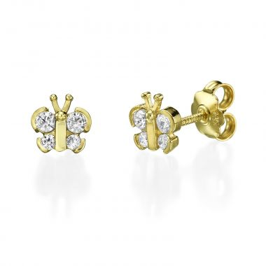 Stud Earring in Yellow Gold - Sparkling Butterfly