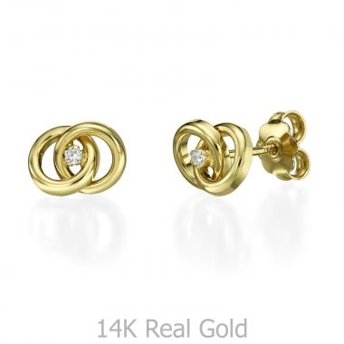 Stud Earring in Yellow Gold - Linked circles
