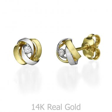 Stud Earring in White & Yellow Gold - Chakra
