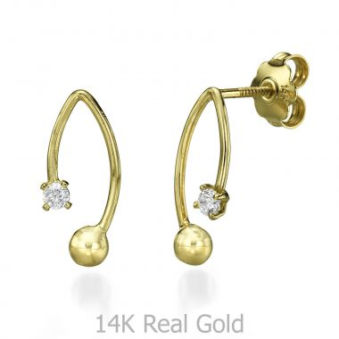 Stud Earring in Yellow Gold - San Francisco
