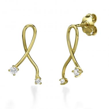Stud Earring in Yellow Gold - Gold Connection