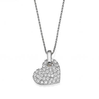 Pendant in White Gold - Sparkling Heart