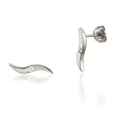 White Gold Stud Earrings -Shiny Waves