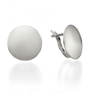 White Gold Hoop Earrings - Orb