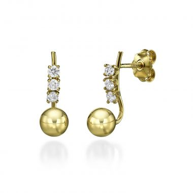 Stud Earring in Yellow Gold - Majestic Ball