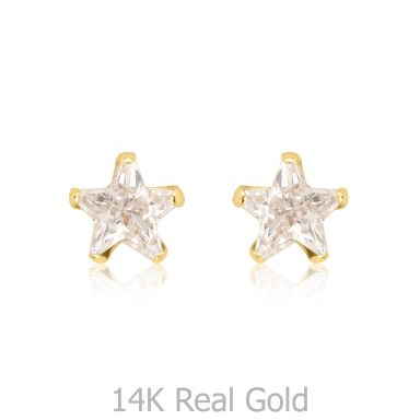 14K Yellow Gold Kid's Stud Earrings - The North Star - Small