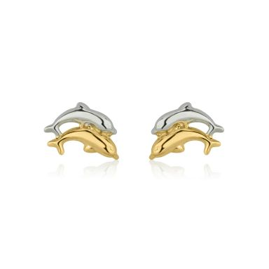 14K White & Yellow Gold Kid's Stud Earrings - Leaping Dolphin