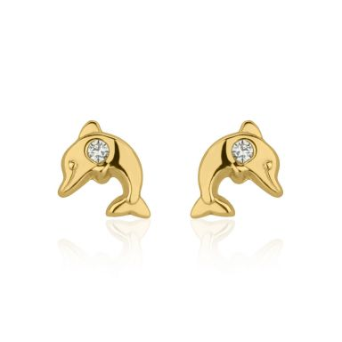 14K Yellow Gold Kid's Stud Earrings - Smiling Dolphin
