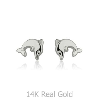 14K White Gold Kid's Stud Earrings - Joyous Dolphin