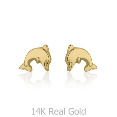 14K Yellow Gold Kid's Stud Earrings - Joyous Dolphin